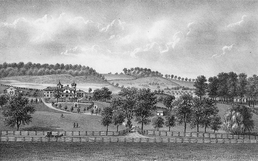 Lithograph of the Augusta Male Academy campus from the 1882-1883 Catalog.